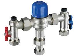The valve is fitted between the hot and cold supply pipework and the outlet tap.